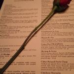 A rose and the menu