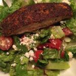 Grilled blackened salmon + Mediterranean green salad