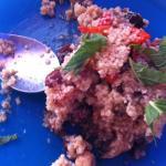 Tabuleh con verduras asadas, frutos secos y menta