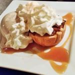 Pumpkin Tart with cinnamon ice cream and whipped cream.