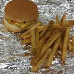 Regular cheese burger & regular order of Cajun fries.