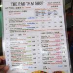 เมนูร้านผัดไทยช็อป