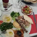 Lebanese meal with 7 types of food