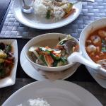 Basil beef, green curry, tom yum soup