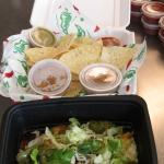 Lunch to go, Cheese Enchiladas, chips, salsa, dbl beans