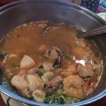 Hot Pot- lots of shrimp, calamari and other seafood- excellent!