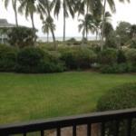 Vue de la terrasse, on aperçoit la paroi anti moustiques