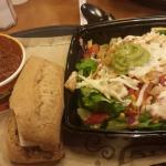 Bison Chili soup,  multi-grain roll and butter,  and Loco Burrito salad.