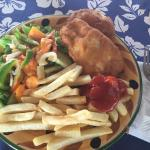 Fish and chips and salad