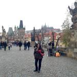Charles Bridge with our residence and the caste hill