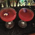 Cocktails with flower petals in.