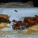 Cheese steak with mushrooms, mayo, pickles, hot & sweet peppers and pepperoni.