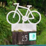 travel marker for bike path close to the inn