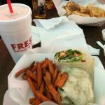 Buffalo Chicken Wrap with Sweet Potato Fries