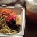 Veggies, noodles and broth to go!