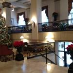Lobby, decorated for the holidays