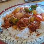 Sweet & sour pork rice and Taufoo with prawns rice