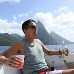having some drinks in front of the Pitons