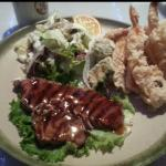 Beef teriyaki and tempura dinner. Love the creamy pineapple salad dressing!