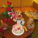 Anniversary celebration at ocean beach club suite with oceanview