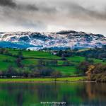 Lake Bala with the cold snowy hills behind