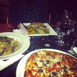 pizza, veal scallopini and fettuccine carbonara