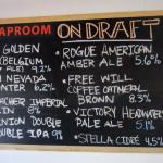 Craft draft beers available on day of visit
