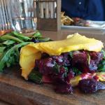 red beet, cheddar, and spinach omelette