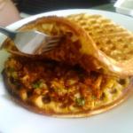 Waffles with prawns