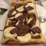 Waffle with banana and chocolate