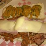 """The Great Wazu"" - Jumbo Chicken Sub w/grilled ham, melted provolone cheese, pickles & mustard s"