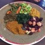 Vegetarian platter with injera! Delicious!