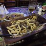 Tabua Picanha com batata frita e queijo frito