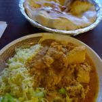 spicy chicken curry and naan bread