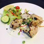 Malai Tikka - chicken marinated in yoghurt, infused with black cardamom and cashew nut flame, ro