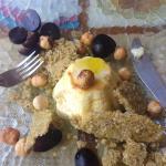 Entrada budín queso cabra,uvas