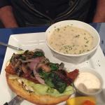 Lunch special Open Face pickeral Sandwich, brocolli and cheese soup, Star Grill, Winnipeg, Manit