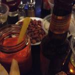 Fresh Carrot Juice, Fresh Roasted Nuts and a Beer