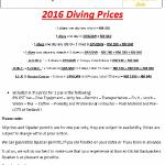 2016 Diving Prices