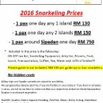 2016 Snorkeling Prices