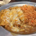 Chicken Enchiladas (Green chile sauce, shredded cheese blend, black beans, rice)