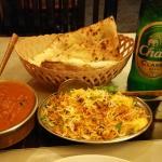Naan, chicken tikka masala, egg, biryani