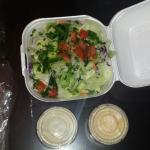 Large, tasty, fresh Greek salad is served with any meal option.