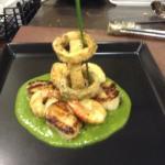 Salt & Pepper calamari with scallops,king prawns & sweet pea purée.