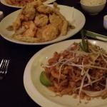 pad thai and vegetable tempura