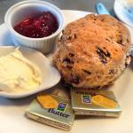 The scone with jam and cream