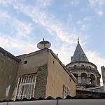 Look up to Galata from rooftop terrace