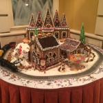 Beautiful gingerbread house in the lobby