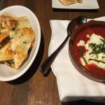 Goat cheese in tomato sauce with flatbread