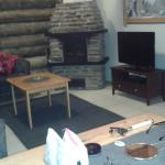 Log burner in lounge area